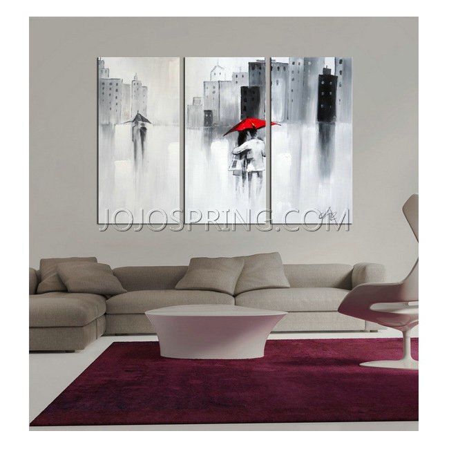 Hand-painted 'The Touch of Love' 3-piece Gallery-wrapped Canvas