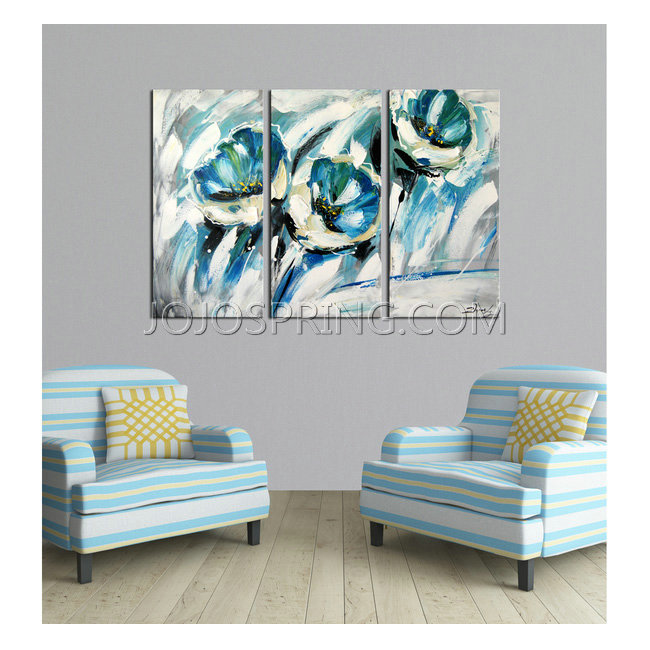 Hand-painted 'The Winding Path' 3-piece Gallery-wrapped Canvas A