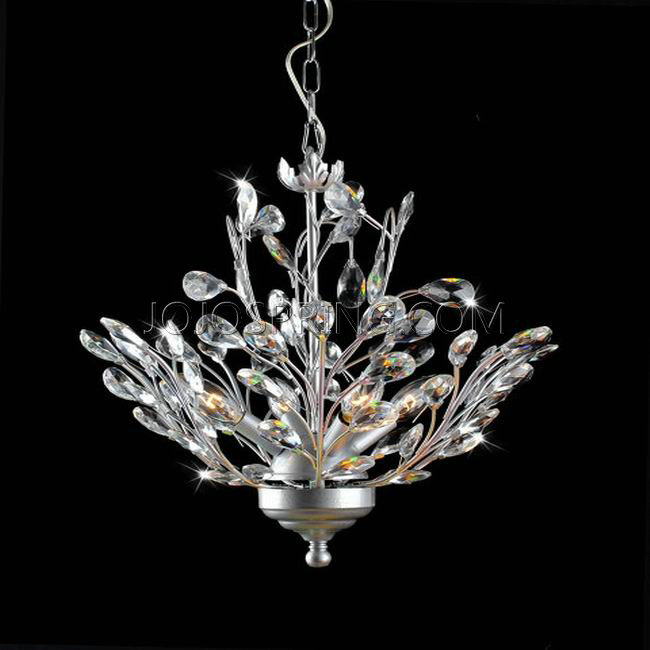 Holly 4 light Silver and Crystal Leaves Chandelier