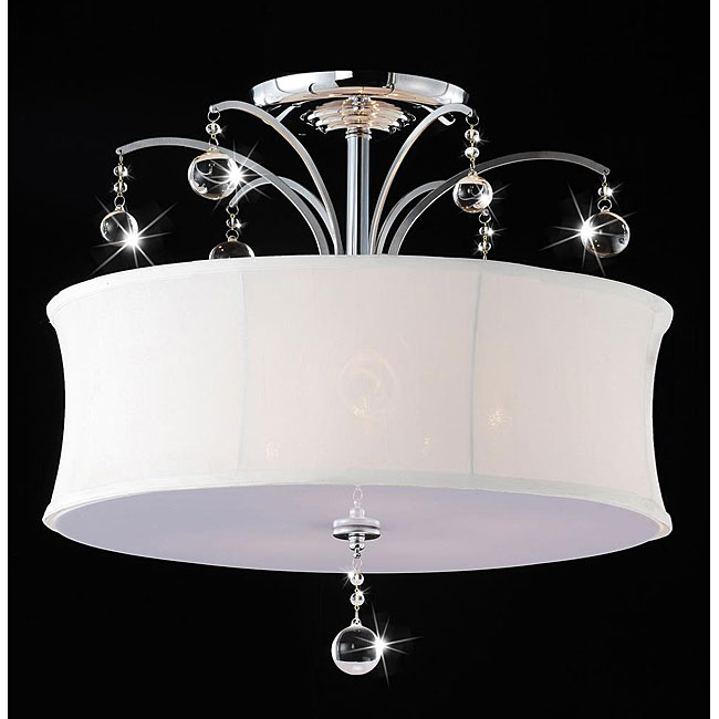 indoor 5 light chrome crystal flush mount chandelier