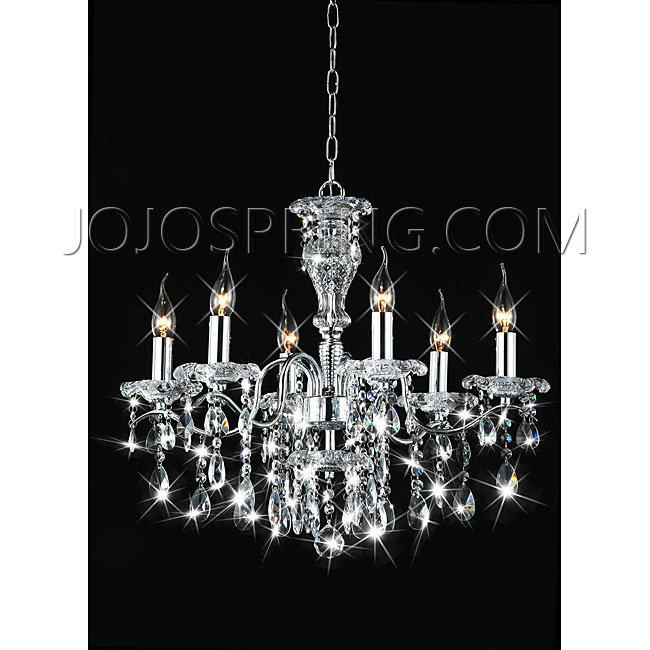 Indoor 6-light Chrome/ Crystal Candle Light Chandelier