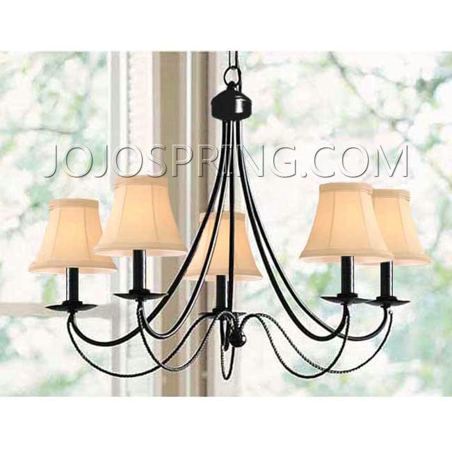 Iron 5-light Black Chandelier - B240B