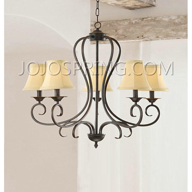 Iron 5-light Chandelier with Beige Shades - B281