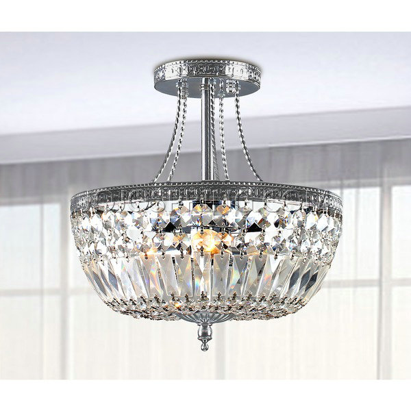 Jessica Crystal Basket Semi Flush Mount Chandelier in Chrome