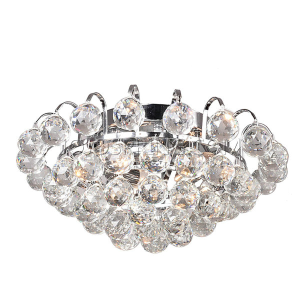 Joanne Chrome Flush Mount with Clear Crystal Balls