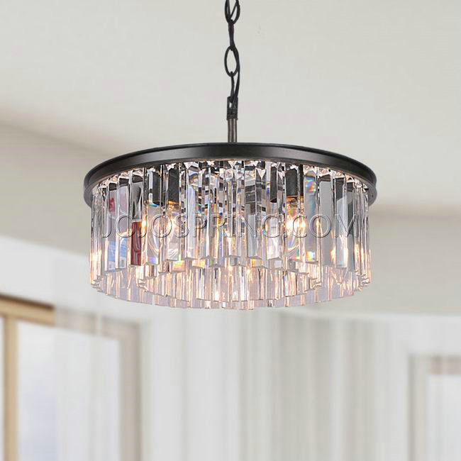 Justina 5-light Antique Black Chandelier with Crystal Glass Pri