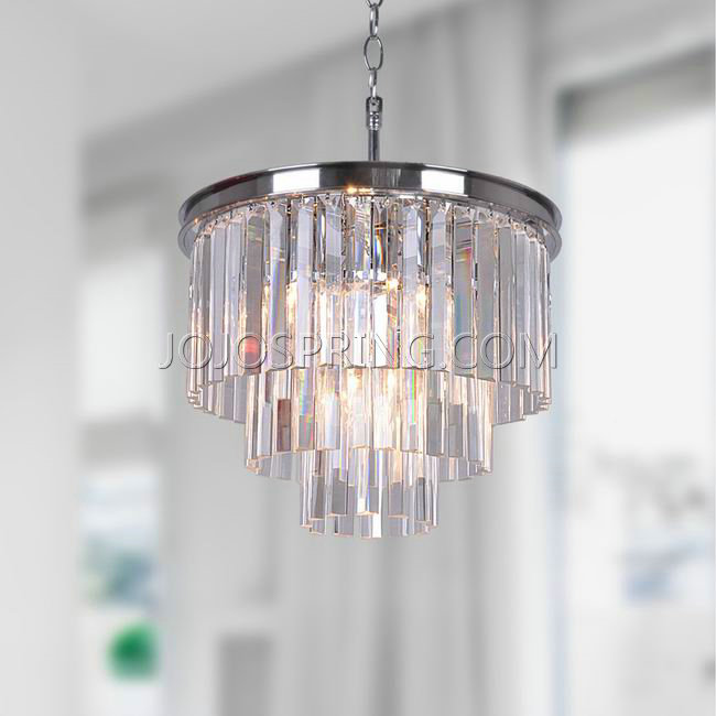 Justina 5-light Chrome 3-tier Chandelier with Crystal Glass Pris
