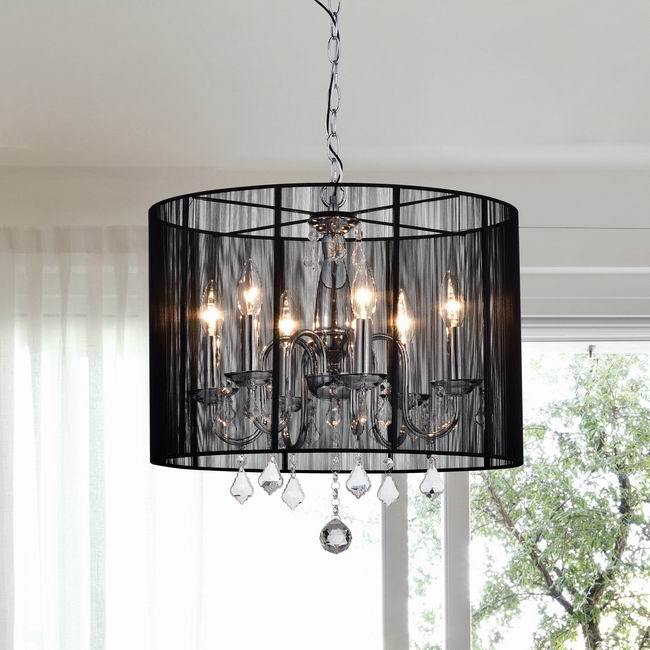 Chrome and Black 6-light Crystal Chandelier - KD181-D