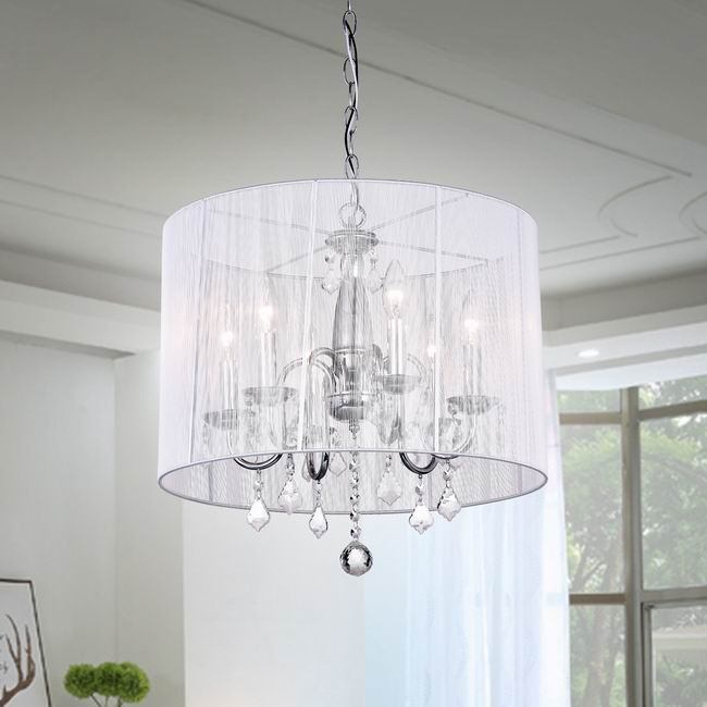 Chrome and Cream 6-light Crystal Chandelier - KD181-W