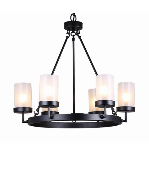 Black Linear 6-light Glass Globe Chandelier L009-BE-477