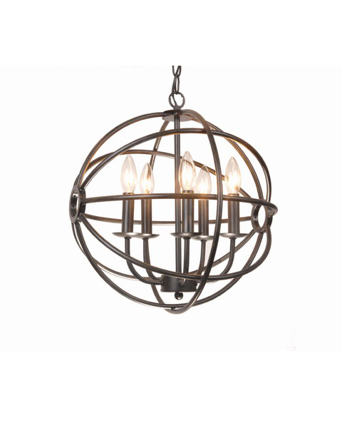 Antique Black Glam Orb 5-Light Iron Chandelier L011-YC-478
