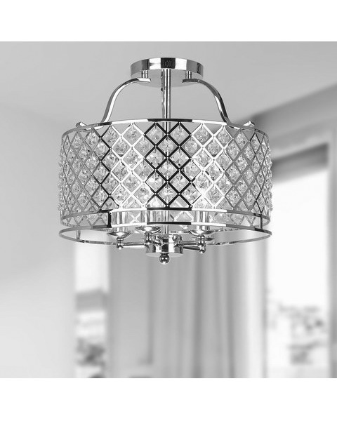 Chrome and Crystal Ceiling Flush Mount Chandelier L101-LU-523