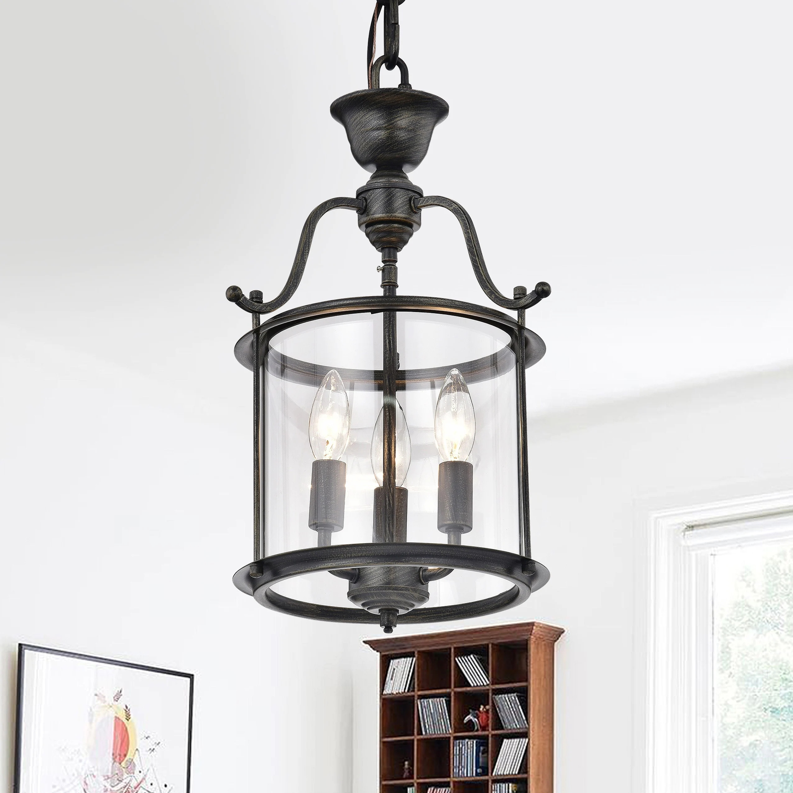3-light Foyer Clear Glass Pendant Chandelier L161-IM-550