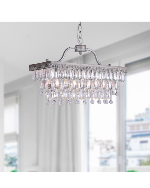 4-Light Crystal Glass Drop Chandelier L167-LF-553
