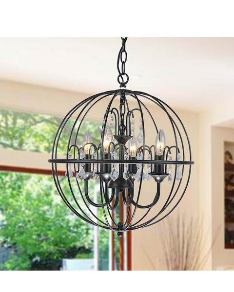 4-Light Antique Black Metal Orb Crystal Chandelier L171-TO-555