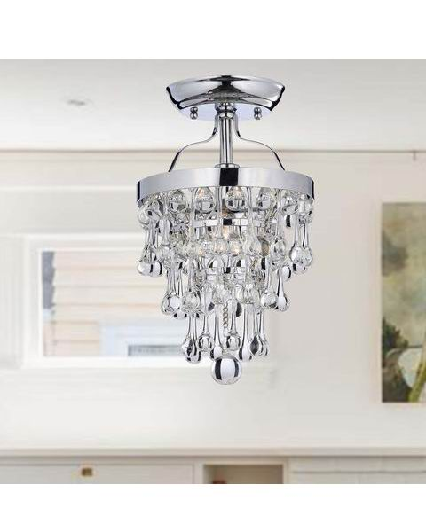 Chrome Semi-Flush Mount Crystal Chandelier L225-SR-582