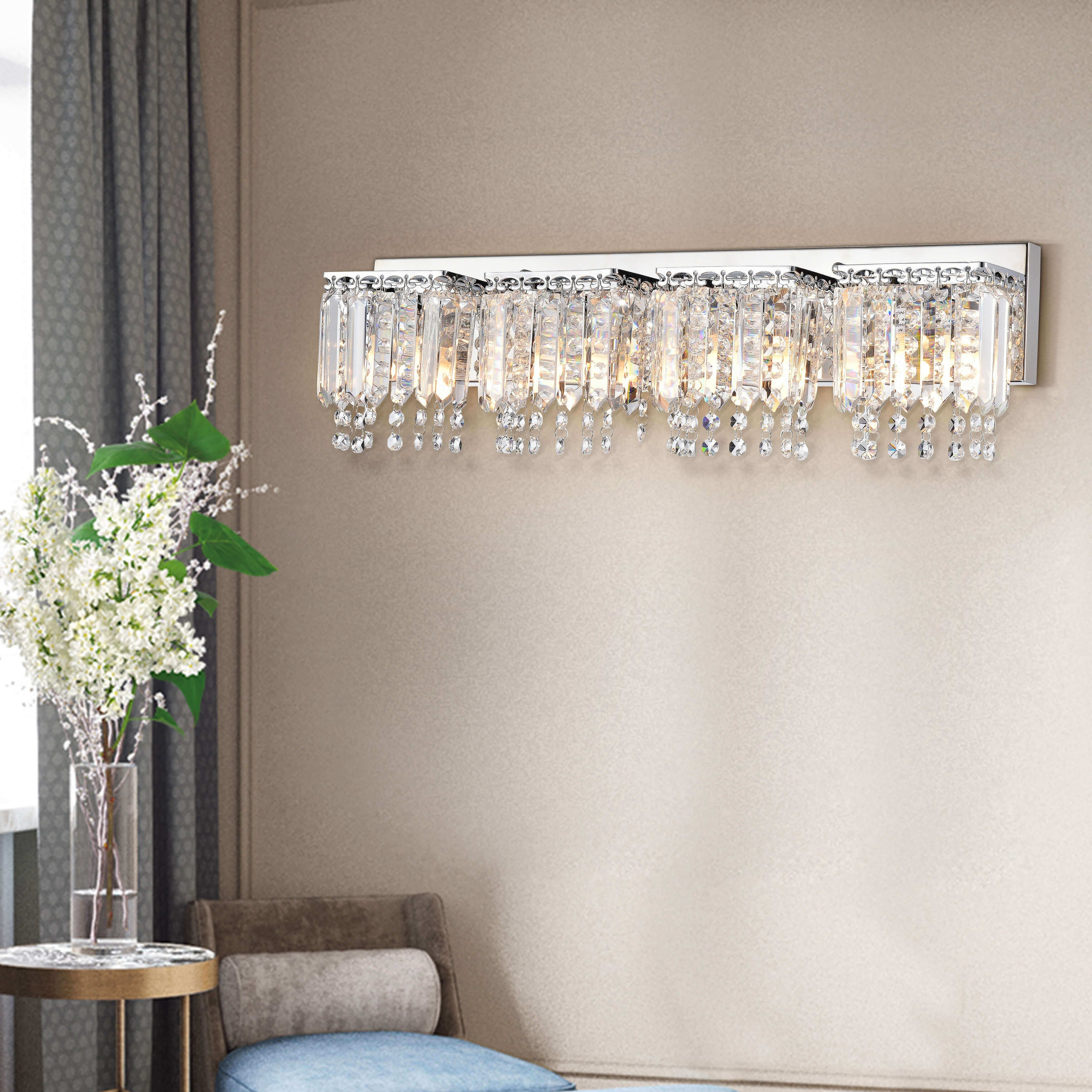 Evelyn 4-Light Crystal Strand Wall Sconce L231-HW-585