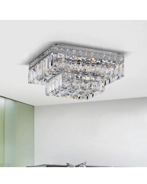 Two Tier Crystals Square Flush Mount Chandelier L247-SZ-593