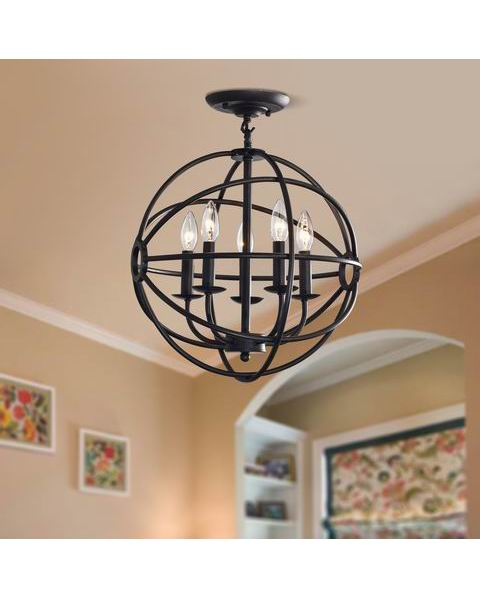 Benita Antique Black 5-light Iron Orb Flush Mount Chandelier