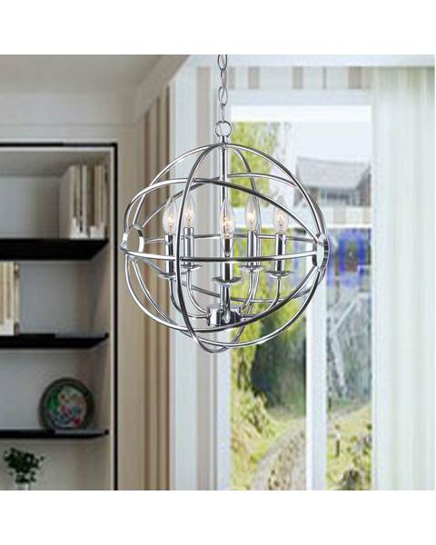 Chrome Glam Orb 5-Light Iron Chandelier L285-HP-612