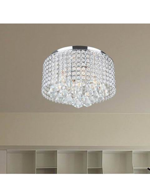 Chrome and Crystal Drum Shade Flush Mount Chandelier L295-YK-617