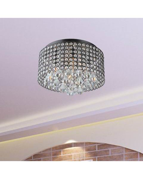 Crystal Drum Shade Flush Mount Chandelier L297-ZH-618