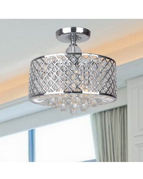 Chrome Finish and Crystal Flush-mount Chandelier L299-EO-619
