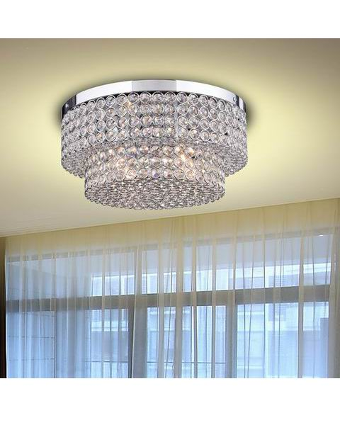 Two Tier Crystal Flush Mount Chandelier in Chrome L335-CZ-637