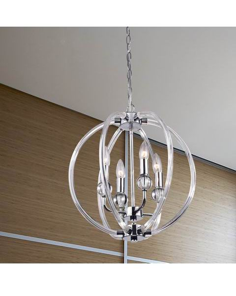 Contemporary Chrome Finish Orb Chandelier L341-YB-640