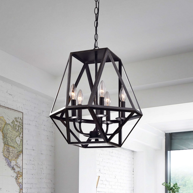 Joshua 5-Light Multangular Iron Chandelier in Antique Black L343