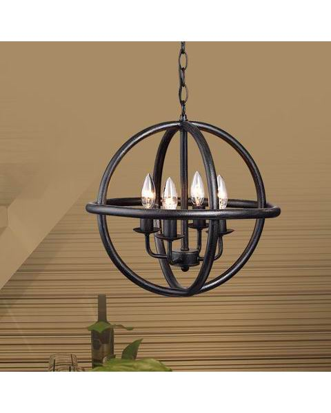 4-light Antique Black Metal Strap Globe Chandelier L347-WE-643