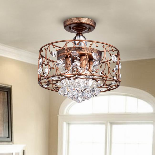Bianca Round Iron Frame Flush Mount Chandelier with Crystal Balls L349-YS-644