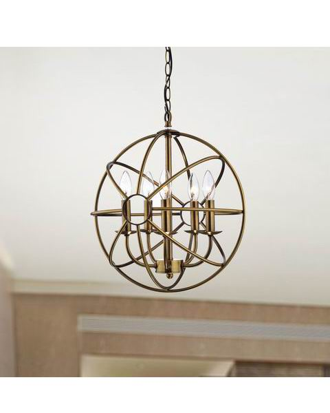 5-light Polished Brass Metal Strap Globe Chandelier L355-YD-647