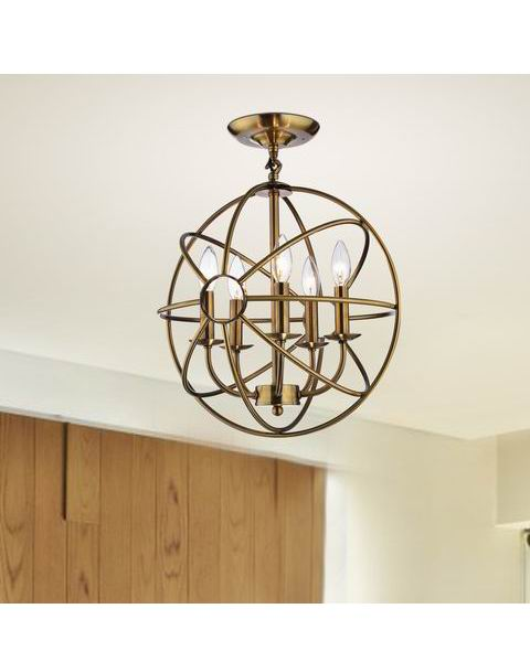 Polished Brass Metal Strap Globe Flush Mount Chandelier L357-UA-