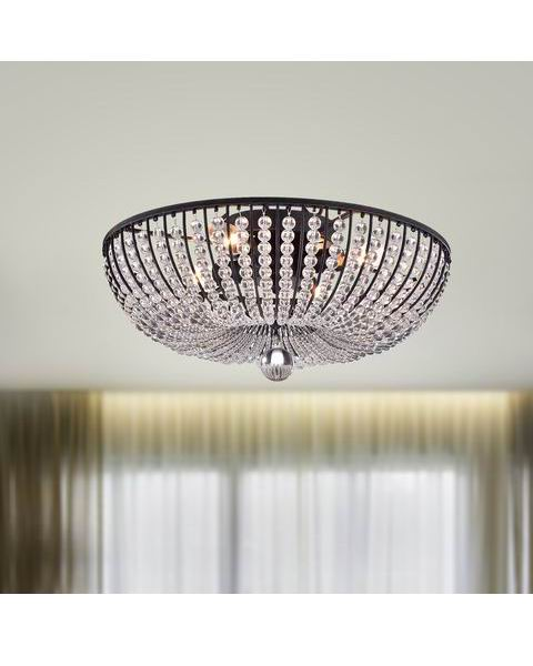 Connie 4-light Antique Black Crystal Beads Flush Mount Chandelier L361-PX-650