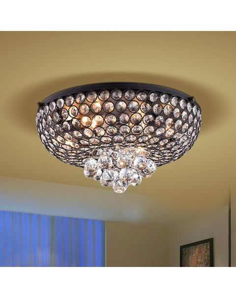 Francisca Antique Black Flush Mount Crystal Chandelier L365-MK-6