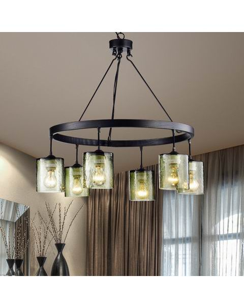 Mariana Antique Black Finish 6-Light Glass Chandelier L377-GH-658