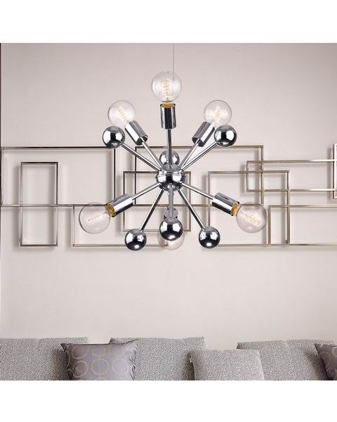 Lorena Chrome Finish Industrial Chandelier with 6 Lights L387-PE-663