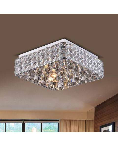 Gisela Contemporary Square Flush Mount Crystal Chandelier in Chrome L393-TF-666