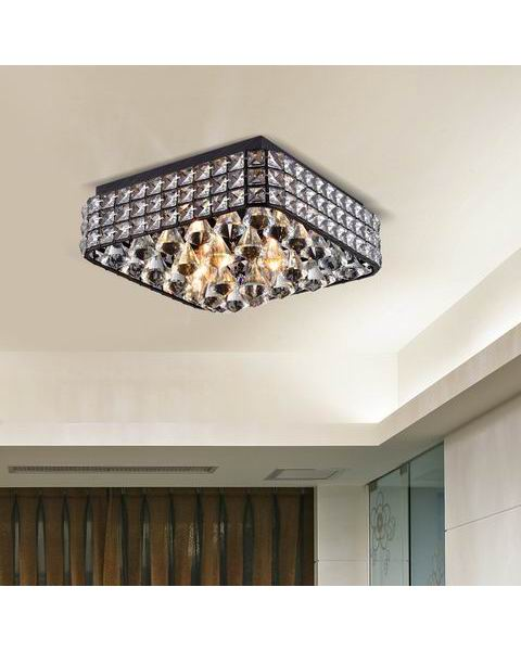 Gisela Contemporary Square Flush Mount Crystal Chandelier in Antique Black L395-UB-667