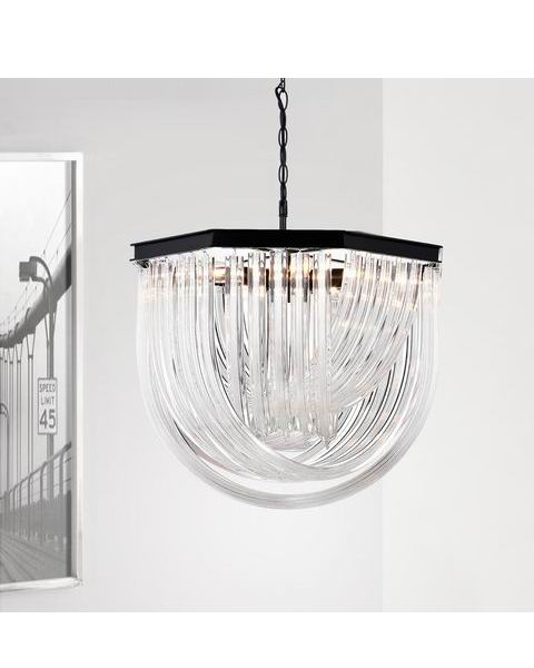 Samanta 6-Light Overlapping Curved Glass Chandelier in Antique Black L401-YZ-670