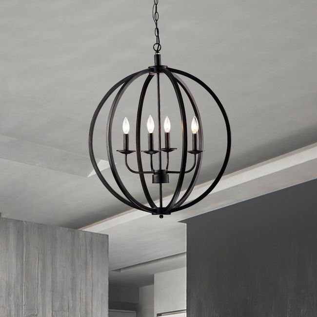 Benita Antique Black Metal Orb Chandelier with 4 Lights L425-ZD-682