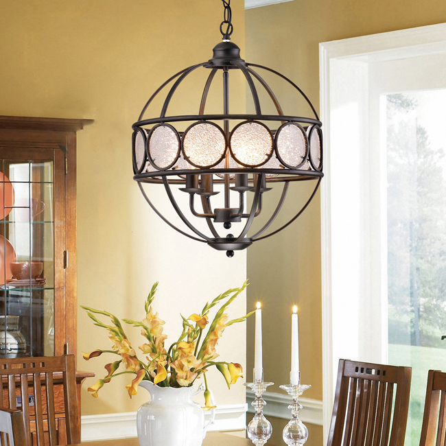 Benita Antique Black Iron and Frosted Glass Globe Chandelier L429-WK-684