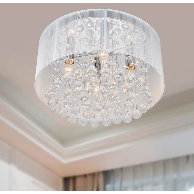 Flushmount 4-light Chrome and White Crystal Chandelier - L701-BC