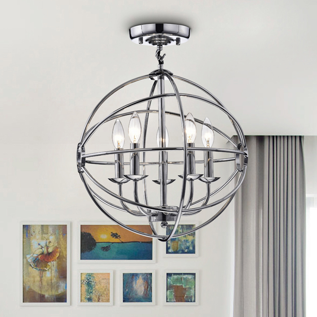 Benita Chrome Finish Glam Orb 5-light Flush Mount Chandelier LJ-0032-AJS