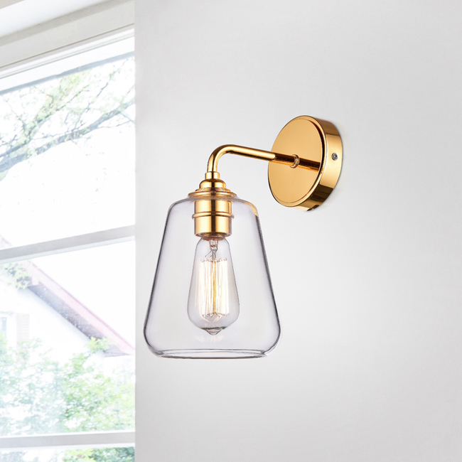 Anastasia Shiny Gold Finish Iron Wall Sconce with Clear Glass Shade LJ-0214-CQH