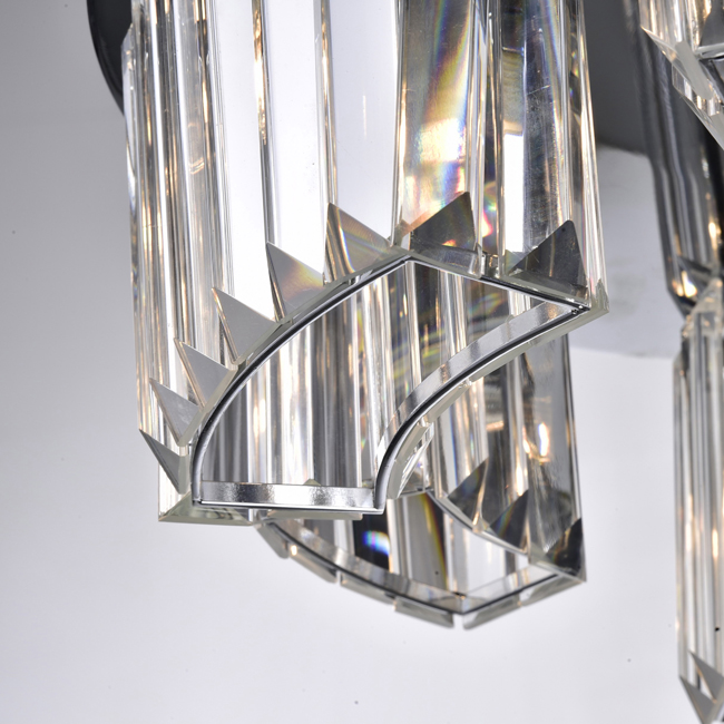 Esperanza Chrome 6-light Glass Prism Round Flush Mount Chandelier LJ-0708-VVZ