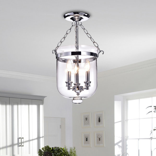 Yamila Chrome Glass Lantern Flush Mount Chandelier LJ-1099-YCD