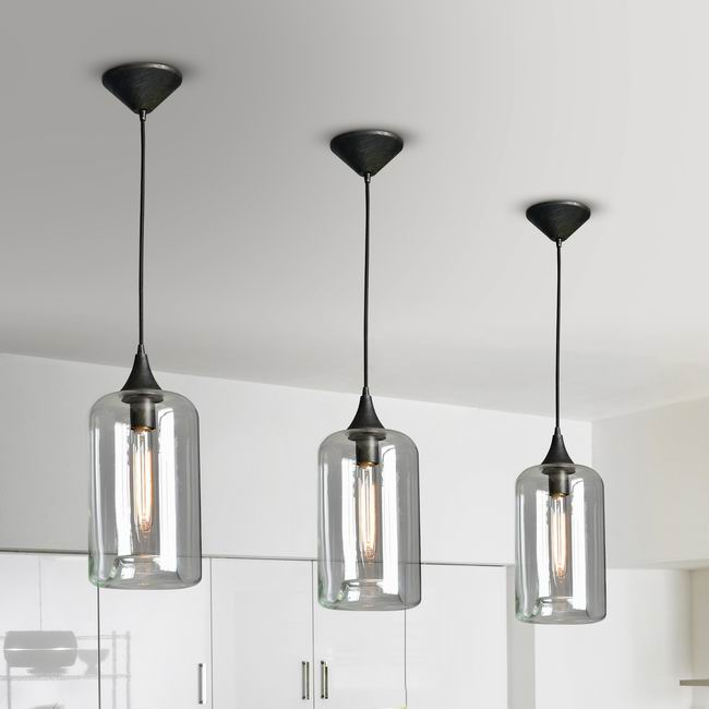 Belinda Cognac Long Glass Pendant Chandelier in Antique Black Finish LJ-1107-JHR