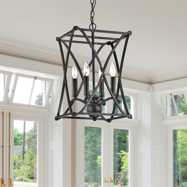 Joshua Antique Black Iron X-shape Square Chandelier LJ-1424-NEW